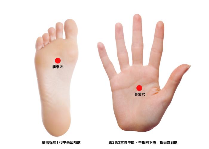 刺激腳底的湧泉穴及手掌的勞宮穴,不僅能改善手腳冰冷的問題,也可以更促進身體健康。